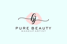 Initial BJ Watercolor Lips Premade Logo Design, Logo For Makeup Artist Business Branding, Blush Beauty Boutique Logo Design, Calligraphy Logo With Creative Template.