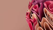 Pink And Peach 3D Undulating Lines Form A Multicolored Abstract Wallpaper. 3D Render With Copy-space.