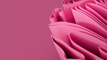 Pink 3D Undulating Lines Form A Colorful Abstract Background. 3D Render With Copy-space.