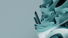 Teal 3D Waves Arranged To Create A Colorful Abstract Background. 3D Render With Copy-space.