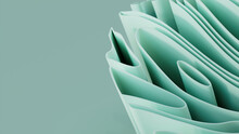 Abstract Background Formed From Pastel Colored 3D Ribbons. Multicolored 3D Render With Copy-space.