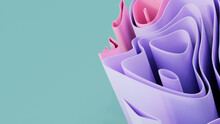 Purple And Aqua 3D Waves Form A Multicolored Abstract Wallpaper. 3D Render With Copy-space.