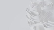 Abstract Background Formed From White 3D Undulating Lines. Light 3D Render With Copy-space.