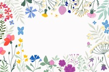 Floral Border, Decorative Frame With Meadow Flowers And Plants, White Background
