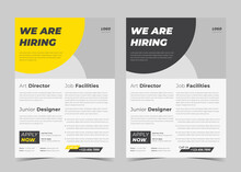 We Are Hiring Flyer Design. We Are Hiring Poster Template. Job Vacancy Leaflet Flyer Template Design
