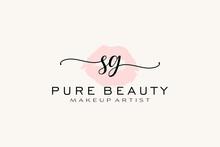 Initial SG Watercolor Lips Premade Logo Design, Logo For Makeup Artist Business Branding, Blush Beauty Boutique Logo Design, Calligraphy Logo With Creative Template.