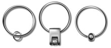 Keychains Set Keyring Holders Isolated On White Background. Silver Colored Accessories Or Souvenir Pendants Mockup.Reallistic Keychain Template Set.