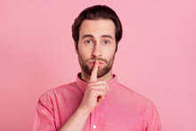 Photo Of Silent Unhappy Young Man Hold Finger Mouth Lips Secret Rumor Mistake Isolated On Pink Color Background