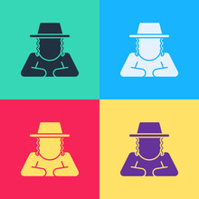 Pop Art Orthodox Jewish Hat With Sidelocks Icon Isolated On Color Background. Jewish Men In The Traditional Clothing. Judaism Symbols. Vector