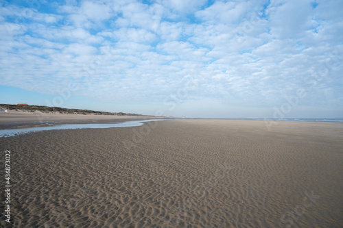Stampa su Tela Low tide period on yellow sandy beach in small Belgian town De Haan or Le Coq su