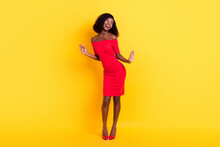 Full Length Portrait Of Stunning Dark Skin Person Enjoy Dancing Look Empty Space Isolated On Yellow Color Background