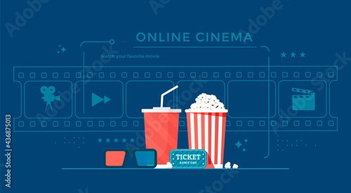 Photographie Online cinema banner concept with popcorn, film-strip, and 3d glasses