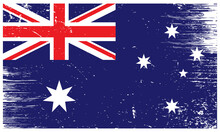 Australia National Flag With Grunge Texture