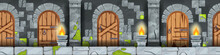 Seamless Game Castle Dungeon Background, Vector Cartoon Medieval Prison Interior, Old Wooden Door. Stone Ages Ancient Palace Basement, Fantasy Level Concept. Seamless Dungeon, Gray Pillars, Moss, Fire