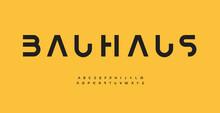 Bauhaus Alphabet Letter Font. Modern Logo Typography. Minimal Cropped Vector Typographic Design. Cutout Type For Futuristic Logo, Headline, Title, Monogram, Lettering, Branding, Apparel, Merchandise