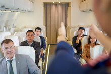 Air Hostess Demonstration For Rescue Way Ground On Boarding In Airplane Cabin Before Takeoff