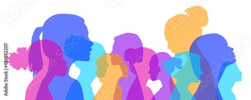 Canvastavla Multiethnic women communicate, vector illustration