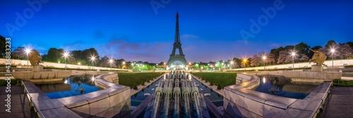 Paris skyline panorama at night with view of Eiffel Tower #436883233