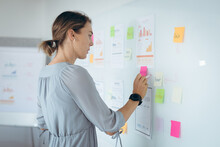Caucasian Businesswoman Making Notes And Add Post-ins On Wall