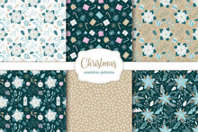 Set Of Christmas Seamless Patterns. Poinsettia, Christmas Candles, Balls And Snowflakes.
