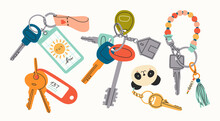 Set Of Various Keys With Different Keychains. Keyholders And Keyrings Collection. Modern Keys With Pendants. Hand Drawn Vector Illustration. Home Rental, Property, Real Estate Concept