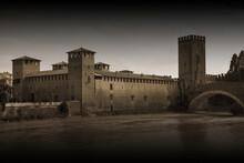 Unusual View Of Castelvecchio. Verona, Italy