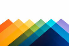 Rainbow Coloured Triangles Isolated On White Background.Concept Of Lgtbt. Copy Space.