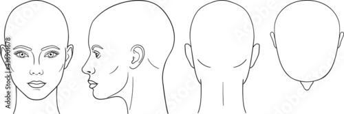 Fotografia Female head vector illustration in front, back, top, side view