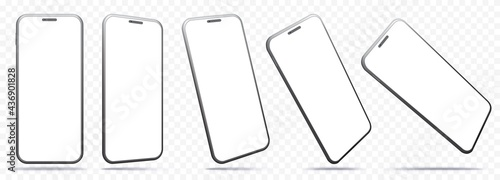Mobile Phone Vector Mockup With Perspective Views. Smartphone Screens Isolated on Transparent Background.