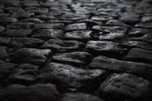 Stone Pavement. Granite Cobble Stoned Pavement Background