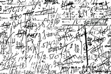 Grunge Texture Of Illegible Sloppy Notes With Calculations And Smudges. Monochrome Background Of An Unreadable Draft With Numbers And Strikethrough. Overlay Template. Vector Illustration