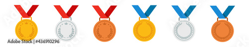 Photo Set of gold, silver and bronze medals. Vector icon