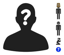 Unknown Body Icon With Flat Style. Isolated Vector Unknown Body Icon Illustrations On A White Background, Simple Style. Some Similar Icons Added.