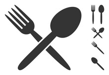 Spoon And Fork Icon With Flat Style. Isolated Vector Spoon And Fork Icon Image On A White Background, Simple Style. Some Similar Icons Added.