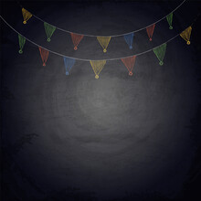Chalkboard Blackboard Background For Design With Hand Drawn Bunting Garland Flags.