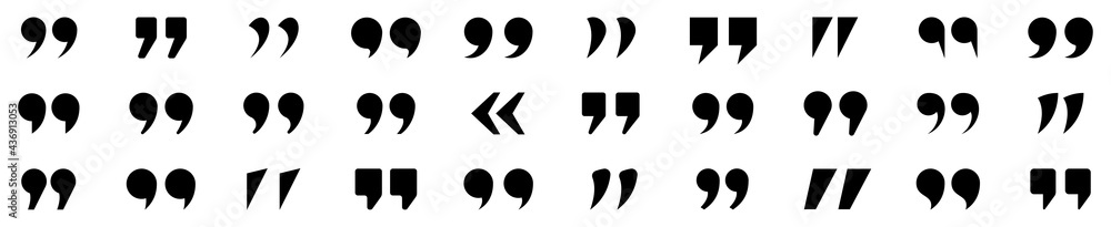 Obraz Set of quote mark. Quotes icon vector set. Quotemarks outline, speech marks, inverted commas or talking marks collection. Talk bubble speech icon. Black quotes icon. Vector illustration. fototapeta, plakat