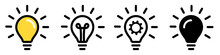 Light Bulb Icon Set. Line, Solid And Filled Outline Colorful Version, Outline And Filled Vector Sign. Light Bulb Vector Icon. Lamp Concept. Idea, Solution Symbol. Vector Illustration.