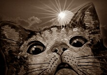 Art Painting Oil Color Cute Cat , Sepia