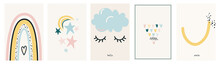 Minimal Scandinavian Boho Poster Set Vector Background With Rainbow, Hearts, Night Moon And Stars, Cloud And Eyelashes, Smile. Love Nursery Illustrations In Simple Naive Style For Baby Prints