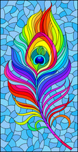 Stained Glass Illustration With A Bright Rainbow Peacock Feather On A Blue Background, Rectangular Image