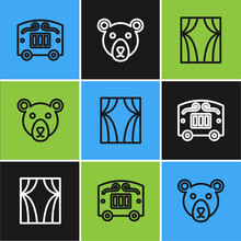 Set Line Circus Wagon, Curtain Raises And Bear Head Icon. Vector