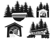 Covered Bridge, Covered Bridge Clipart, Vector Illustration,