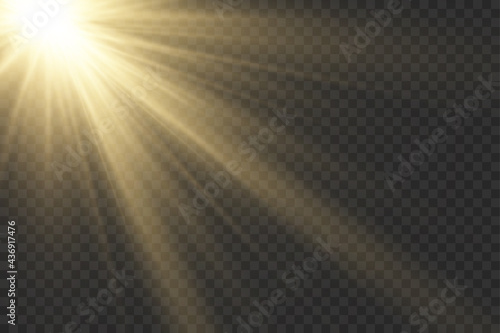 Sunlight with bright explosion, flare sun rays. Fototapeta
