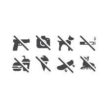 No Food, Camera, Pets Prohibition Signs. No Skating, Skateboard, Smoking Sign Set.