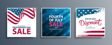 United States Independence Day Sale Special Offer Promotional Backgrounds Set For Business, Advertising And Holiday Shopping. Fourth Of July Sales Events Cards. Vector Illustration.