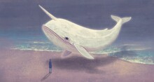 Surreal Art, Fantasy Painting, Man With Floating Whale And The Sea, Conceptual Illustration, Imagination Concept Artwork