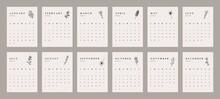 Abstract 2022 Calendar Design. Botanical Doodle Calendar Planner Minimal Style, Floral Annual Organizer. Vector Illustration