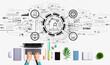 Leinwandbild Motiv Smart industry concept with person using a laptop