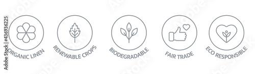 Obraz na płótnie Sustainable clothes line icon set