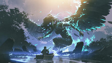 Man On Boat Facing A Legendary Angel In The Dark Forest, Digital Art Style, Illustration Painting